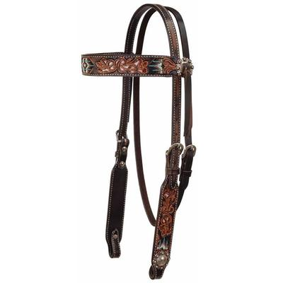 Circle Y 5/8 Inch Headstall With Distressed Beaded Floral Tooling