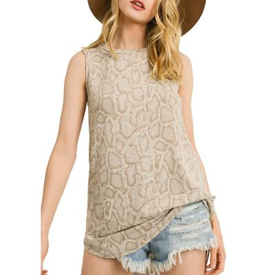Women's Sleeveless Snake Print Tank Top