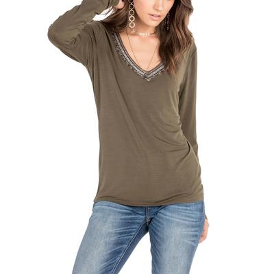 Miss Me Women's Embellished V-Neck Top