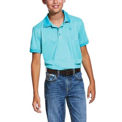 Ariat Boy's Turquoise Micro Stripe Tek Polo