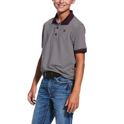 Ariat Boy's Mahogany Micro Stripe Tek Polo