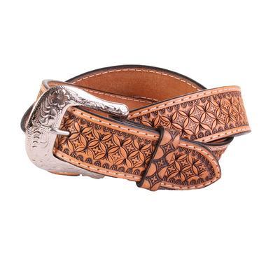 Men's Natural Floral Tooled Belt