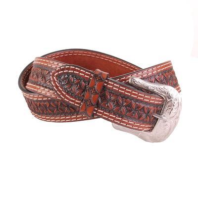 Men's Leather Carved Dark Tone Belt