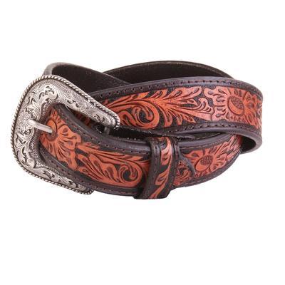 Men's Contrasting Tooled Leather Western Belt
