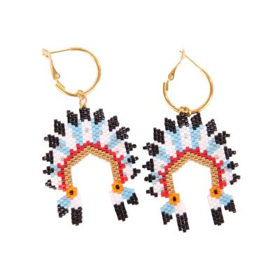 Beaded Indian Headdress Earrings