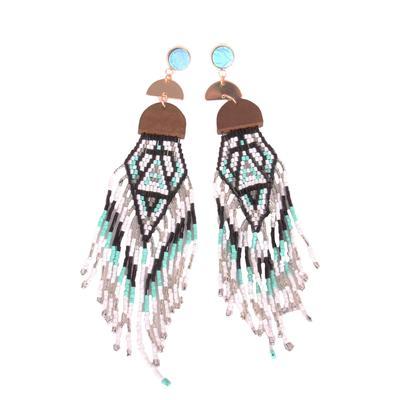Beaded Long Tassel Earrings