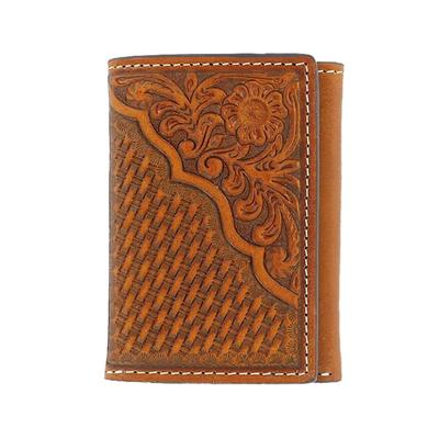Nocona Trifold Tooled Floral Wallet