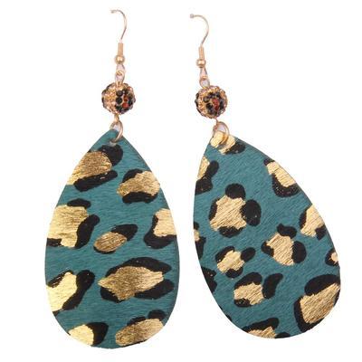 Colored Leopard Teardrop Earrings TUQ