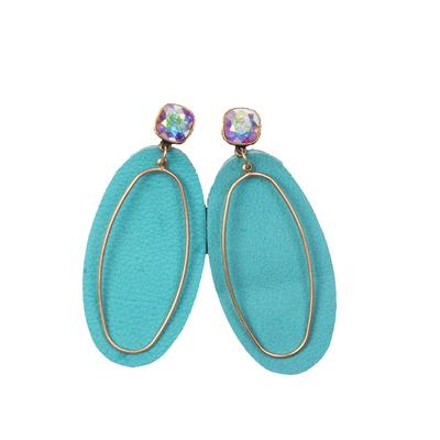 Pink Panache Double Oval Leather Earring