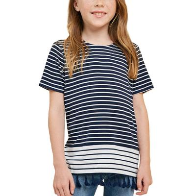 Hayden Girl's Striped Tassel Hem Top