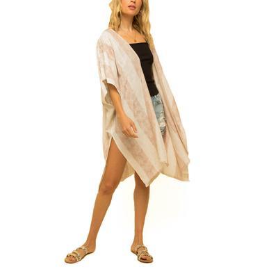 Women's Linen Watercolor Striped Kimono