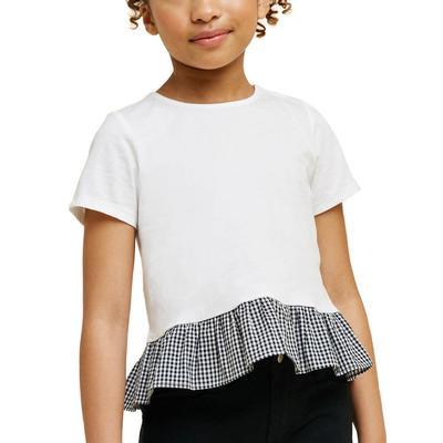 Hayden Girl's Gingham Bow Tie Peplum Top