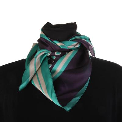 Bosuk Corp. Circle and Striped Silk Scarf