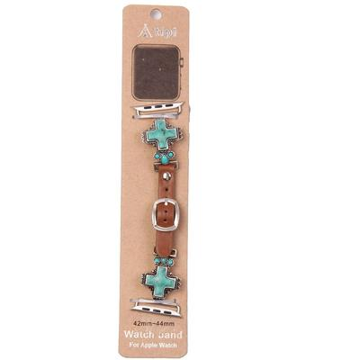 Turquoise Cross & Leather Apple Watch Band