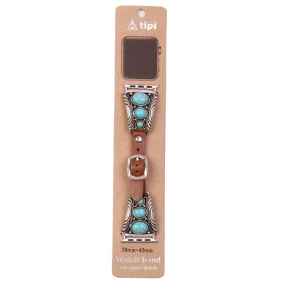 Three Stone Turquoise & Leather Apple Watch Band