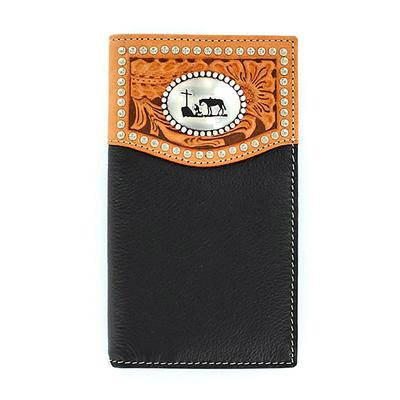 Men's Black Trifold Tooled Rodeo Wallet