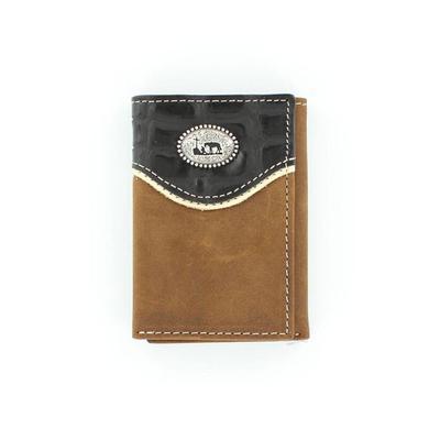 Men's Brown Crocodile Tri-fold Wallet