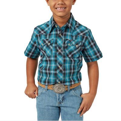 Wrangler Boy's Turquoise Retro Button Down Shirt
