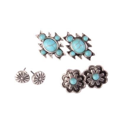 3 Pairs Of Western Stud Earrings