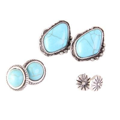 3 Turquoise Stud Earrings