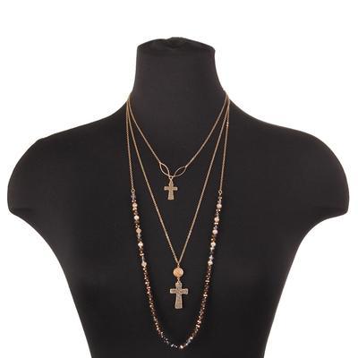 Beaded Gold Three Strand Necklace