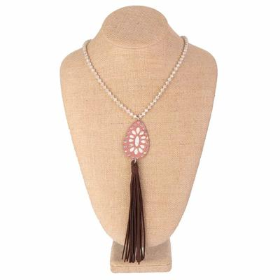 Beaded Teardrop Necklace With Leather Tassel