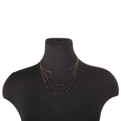 Dainty Multi Strand Beaded Necklace BLK