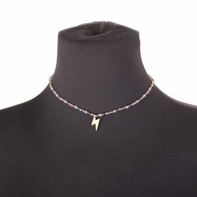 Beaded Lighting Bolt Necklace