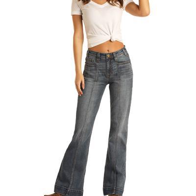Rock&Roll Women's Medium Wash Trouser Jeans