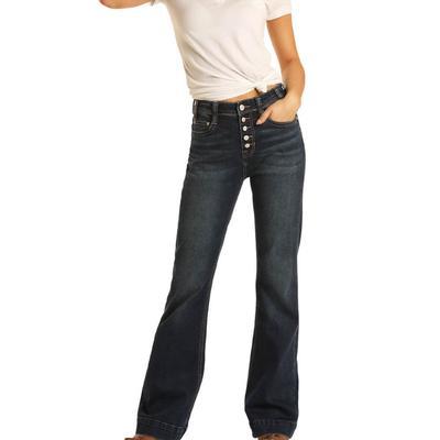 Rock&Roll Women's Dark Wash Button Up Jeans