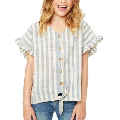 Hayden Girl's Striped Linen Top