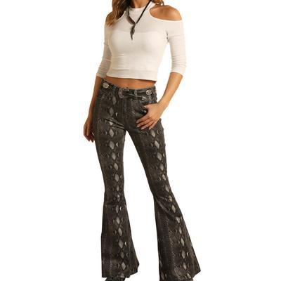Rock&Roll Women's Snake Print Flare Jeans