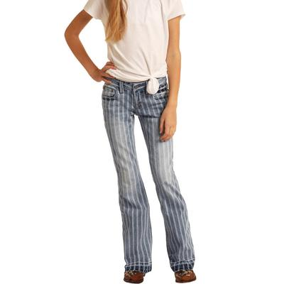 Rock&Roll Girl's Light Wash Stripped Trouser Jeans