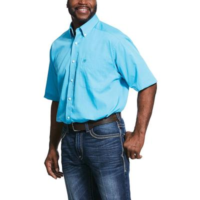 Ariat Men's Short Sleeve Wrinkle Free Solid Pinpoint Oxford Classic Fit Shirt