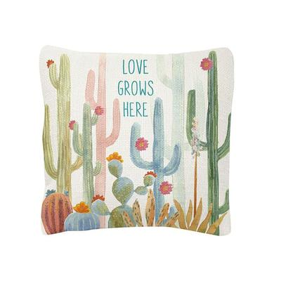 Love Grows Here Square Cactus Pillow