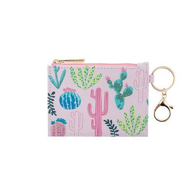 Pink Cactus Zip ID Holder