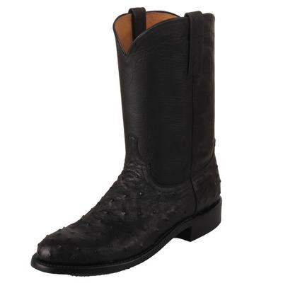 Lucchese Men's Black Full Quill Ostrich Boots