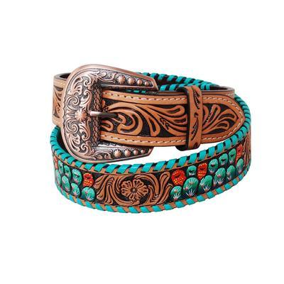 Ladies Floral Tooled & Painted Cactus Belt