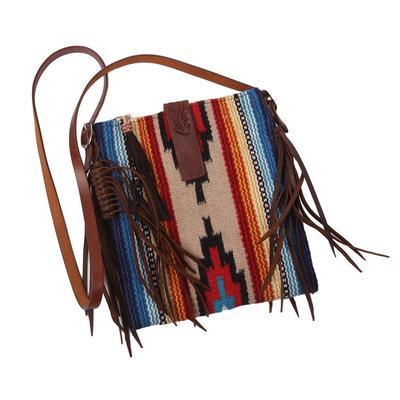Woolen Serape Crossbody With Brown Fringe