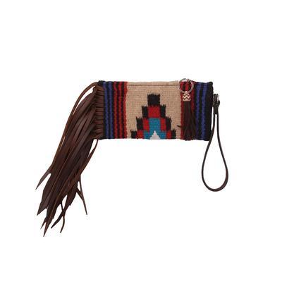 Woolen Serape Wristlet With Brown Fringe & Tassel