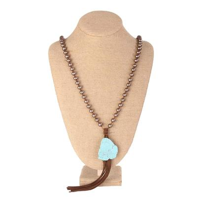 Pink Panache Large Beaded Necklace With Turquoise Stone & Tassel