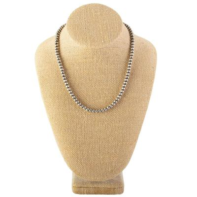 Sterling Silver 18 Inch Navajo Pearl Necklace- 5mm