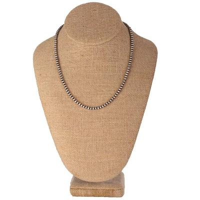 Sterling Silver 18 Inch 4mm Navajo Pearl Necklace