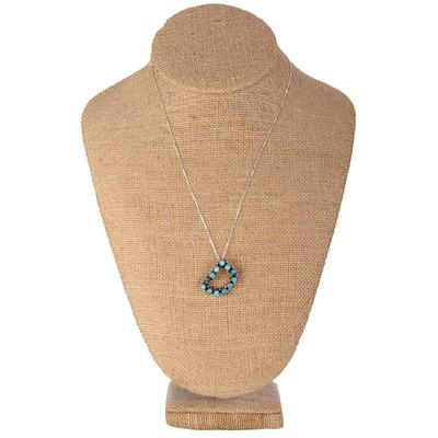 Turquoise Initial Pendant With Chain