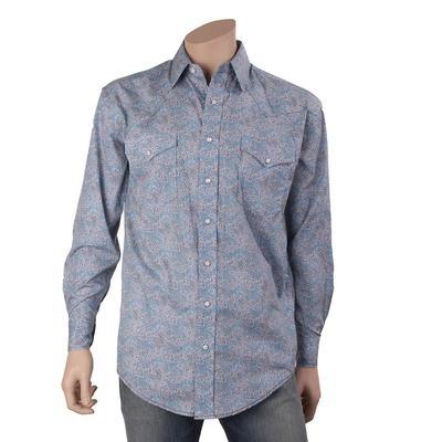 Resistol Men's Blue Paisley Western Snap Shirt