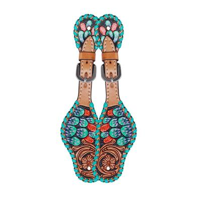 Youth Cactus Tooled Spur Straps