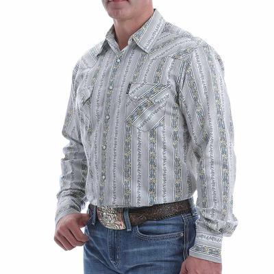 Cinch Men's Modern Fit Blue Floral Striped Snap Shirt