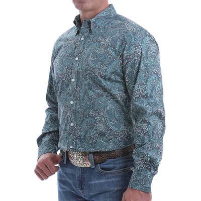 Cinch Men's Modern Fit Green Paisley Button Shirt