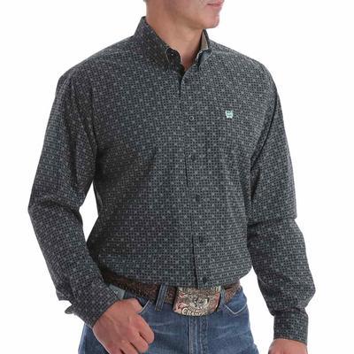 Cinch Men's Navy Dotted Button Down Shirt