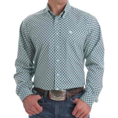 Cinch Men's Light Blue Circled Button Down Shirt